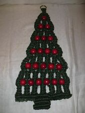 Vintage Hand Made Macrame Christmas Tree with Red Wood Balls Wall Hanging
