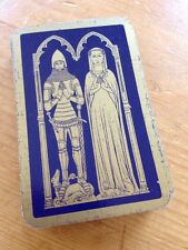 Vtg Antique Waddingtons British Knight Lady Brass Rubbing Motif Playing Cards