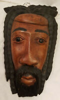 Carved Wood African Man Dread Locks Hair Tiki Bar Wall Accent Mask Face
