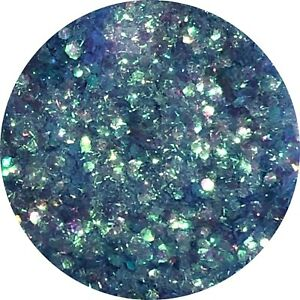 CHUNKY SEA BLUE MERMAID SCALES WITH TINSEL GLITTER Nail Art Body & Wine Glass