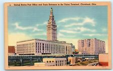 United States Post Office Train Union Terminal Cleveland OH Vintage Postcard B14