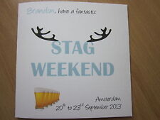 Personalised Handmade Stag Party, Stag Night, Stag Day, Stag Weekend Card