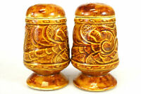 Set of Vintage Orange And Gold Floral Salt And Pepper Shakers (As-Is)
