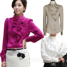 Silky Office Blouse Career Satin Shirt Womens Tops Ruffle Collar Smart Top Size