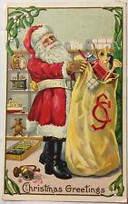 Christmas Greetings Santa Postcard 1915 Mistletoe Filling Up His Sack with Toys