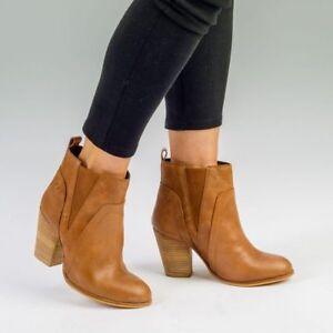 Womens Tan Brown Block Heel Chelsea Leather Boot Ankle elastic Slip On Round Toe