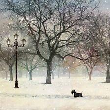Beautiful Artist Christmas Card-Scottie Dog-SINGLE CARD-Bug Art