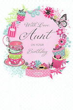 traditional / open aunt happy birthday card - 8 x cards to choose from!