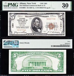 Awesome SCARCE Crisp Choice VF++ 1929 $5 ALBANY, NY National Note! PMG 30! 2774A