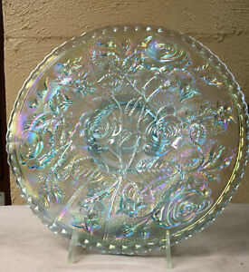 AZURE BLUE CARNIVAL GLASS ROSES PLATE x IMPERIAL GLASS