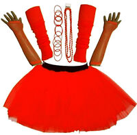 NEW WOMEN'S NEON TUTU SKIRT HEN PARTY 80'S FANCY DRESS ACCESSORIES BANGLES RED