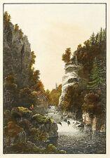 SÄCHSISCHE SCHWEIZ - LIEBETHALER GRUND - LOCHMÜHLE - kolor. Stahlstich 1828
