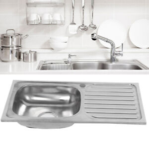 Reversible Stainless Steel Kitchen Sink 760x410mm Single Bowl + Drainer