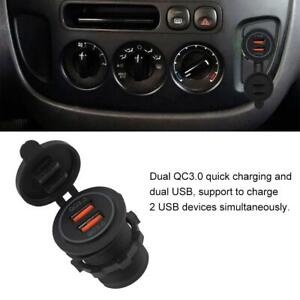 Dual QC3.0 Quick Charge USB Charger Socket Power For 12/24V Car Motorcycle Boat