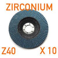 """10 x Pack 100mm (4"""") x 16mm Zirconium Flap Discs Angle Grinder 40 GRIT Z40"""