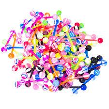 """Tongue Nipple Barbells - 100 Pack Mixed Colors - 14ga-5/8""""(16mm) - Bioflex Shaft"""