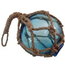 Set of 3 Glass Fisherman Floats Seaside Nautical Theme Blue