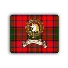 Stewart Scottish Clan Mousepad Appin Tartan Crest Motto Computer Mouse Mat