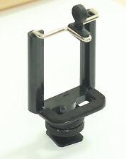 "BRACKET & 1/4""-20 Hot Shoe Adaptor for camera iPhone smartphone width 55~85mm"