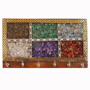 Wooden with Gem Stones Color Key Holder Chain Stand Wall Mount with 6 Hook Set