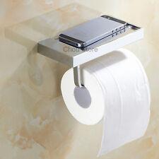 Modern Chrome Square Wall Mounted Bathroom Toilet Paper Roll Holder Tissue Shelf