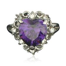NEW 18kt White Gold Plated Heart Bling Ring featuring Amethyst Swarovski Crystal