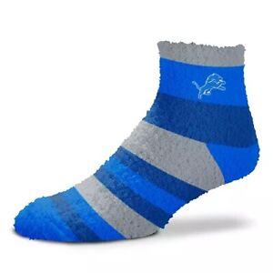 NEW! Detriot Lions NFL Football Womens Stripe Sleep Socks Fuzzy OSFM Blue Gray