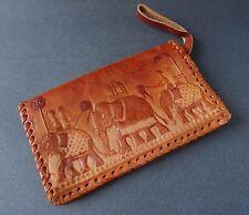 True Vintage Tan Real Leather Clutch Bag Purse Wristlet Embossed Elephants Boho