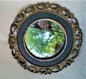 "Small Round Antique Decorative Brass Framed Mirror Approx 6.5"" Diameter"