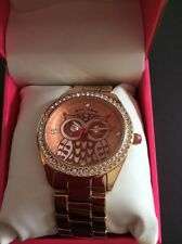 $75Betsey Johnson Rose Gold Owl Crystal Bracelet Watch BJ00048-167 WB15