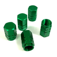 5 Premium Green Aluminum Tire/Wheel Air Stem Valve Caps for car-truck-hot rod