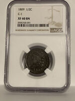 1809 Classic Head Half Cent, C-6 (NOT C-1 as labeled), R-1, NGC XF 40 BN