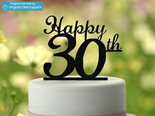 """Happy 30th"" - Black - 30th Birthday Cake Topper - Made by OriginalCakeToppers"