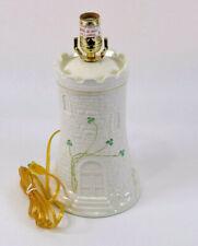 Belleek Fine Parian China Shamrock Pattern Castle Tower Lamp No Shade