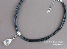 Silpada Crystal Drop Pendant Sterling Silver Black Leather Necklace N1494