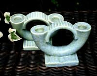 Vintage BESWICK Pair Candle Holder Blue-Green England Signed on Base Art Deco A+