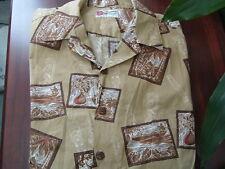 Vintage Hilo Hatties The Hawaiian orginal shirt light brown short sleeve