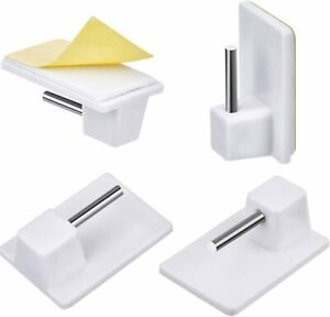 NET CURTAIN RAIL HOLDER 10 WHITE PLASTIC ADHESIVE WIRE WINDOW ROD POLE SUPPORTS