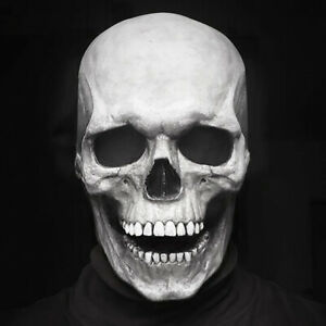 Halloween Skull Mask Full Head Helmet With Movable Jaw Horror Party Pro Scary US