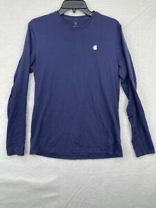 Apple Employee Midnight Blue Cotton Long Sleeve T Shirt with Heat Seal Logo SM