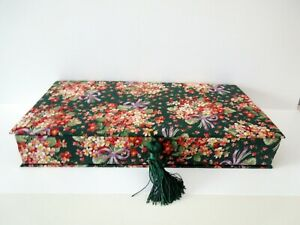 """Large Gift Box Vintage Floral Fabric Covered Padded Rectangular 15"""" x 8"""" x 2.5"""""""