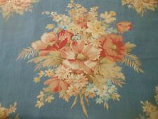 Antique Vtg. Large Floral Bouquet Cotton Fabric ~ Apricot Blue ~ 1940's