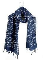 Indian Long Scarf Indigo Blue Hand Block Print Scarves Cotton Neck Wraps Shawl