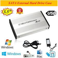 3.5 inch USB 2.0 SATA External HDD HD Hard Drive Enclosure Case Box Disk Cover