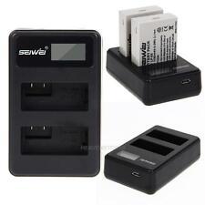 USB Dual Ladegerät mit 2 Akku für Canon LP-E8 LPE8 EOS 700D 650D 600D Schwarz