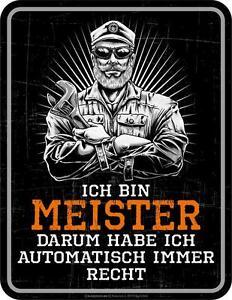 Panneau Métallique 17 X 22 CM, Ich Bin Meister, Publicitaire Rahmenlos Art. 3792