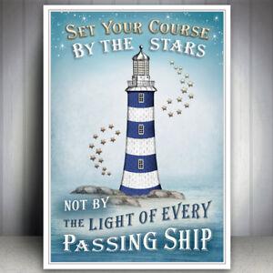 SEASIDE ART PRINT BEACH SEA NAUTICAL SHIP LIGHTHOUSE PICTURE BATHROOM POSTER