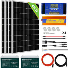 ECO 120W 240W 480W Watt Solar Panel & Off Grid Inverter & 12V Battery For RV US