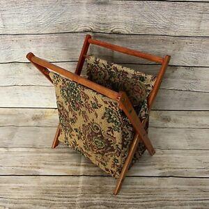 Vintage Wooden Framed Folding Knitting Sewing Craft Tapestry Bag Basket Used