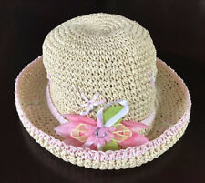 Girl's Sweet Straw Hat - Pink and Green detailing